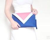 Geometric navy blue pink white felt clutch bag - FancyfeltShop