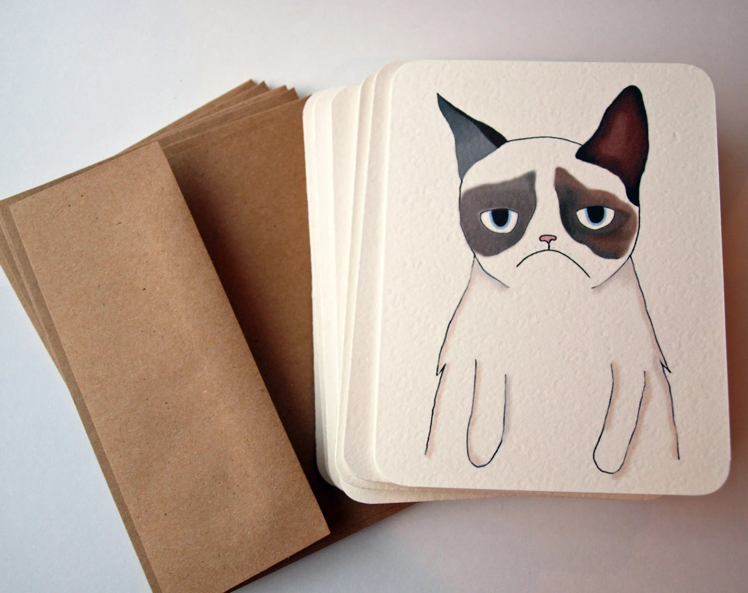 Hand-drawn Grumpy Cat Cards - AfternoonCoffee