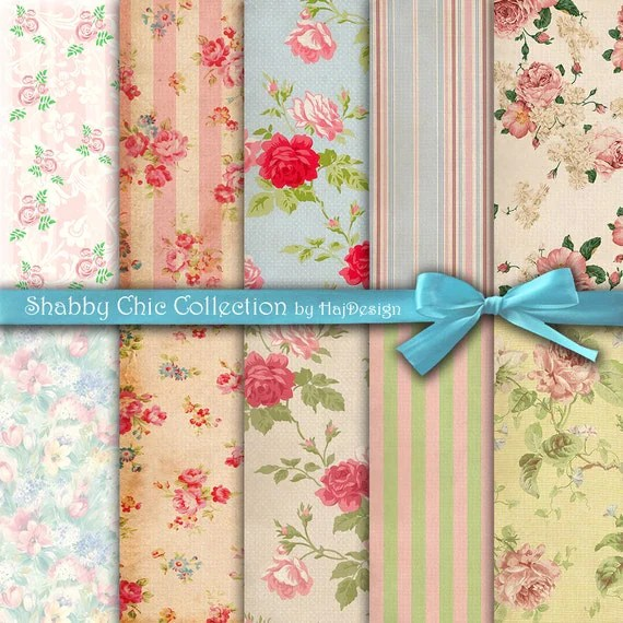SHABBY CHIC COLLECTION Shabby Chic Vintage Retro Delicate Pastel Digital Paper Pack Scrapbook Decoupage Paper Texture Background 10 Papers