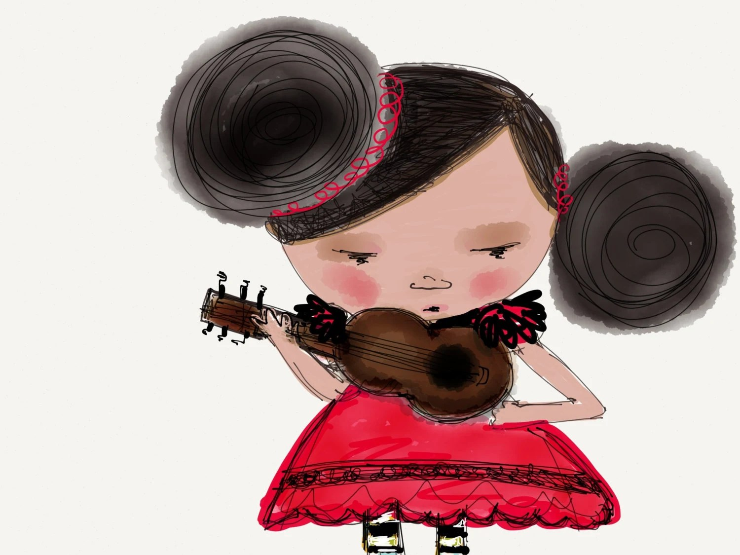 Petite Spanish Guitar Girl,  nursery wall decor, whimsical art, digital drawing, A5 - HYSSOPARTS