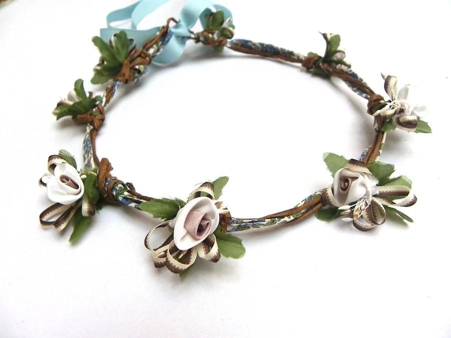 Flower girl, headpiece, head wreath, headband, wedding, marriage, romantic, floral fabric - brindepoesieshop