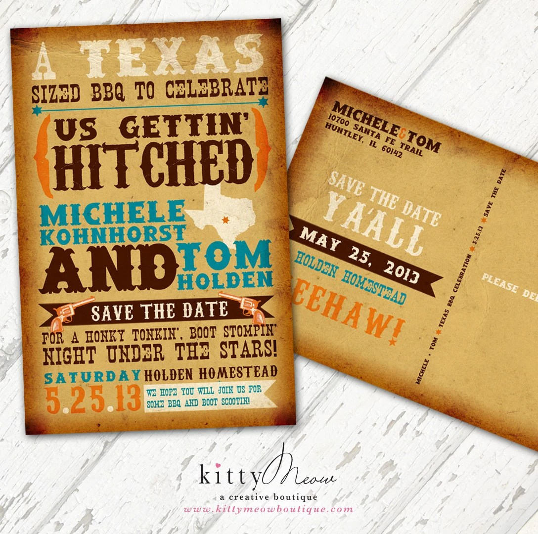 DIY Rustic Country Western Themed Save the Date Postcards - KittyMeowBoutique