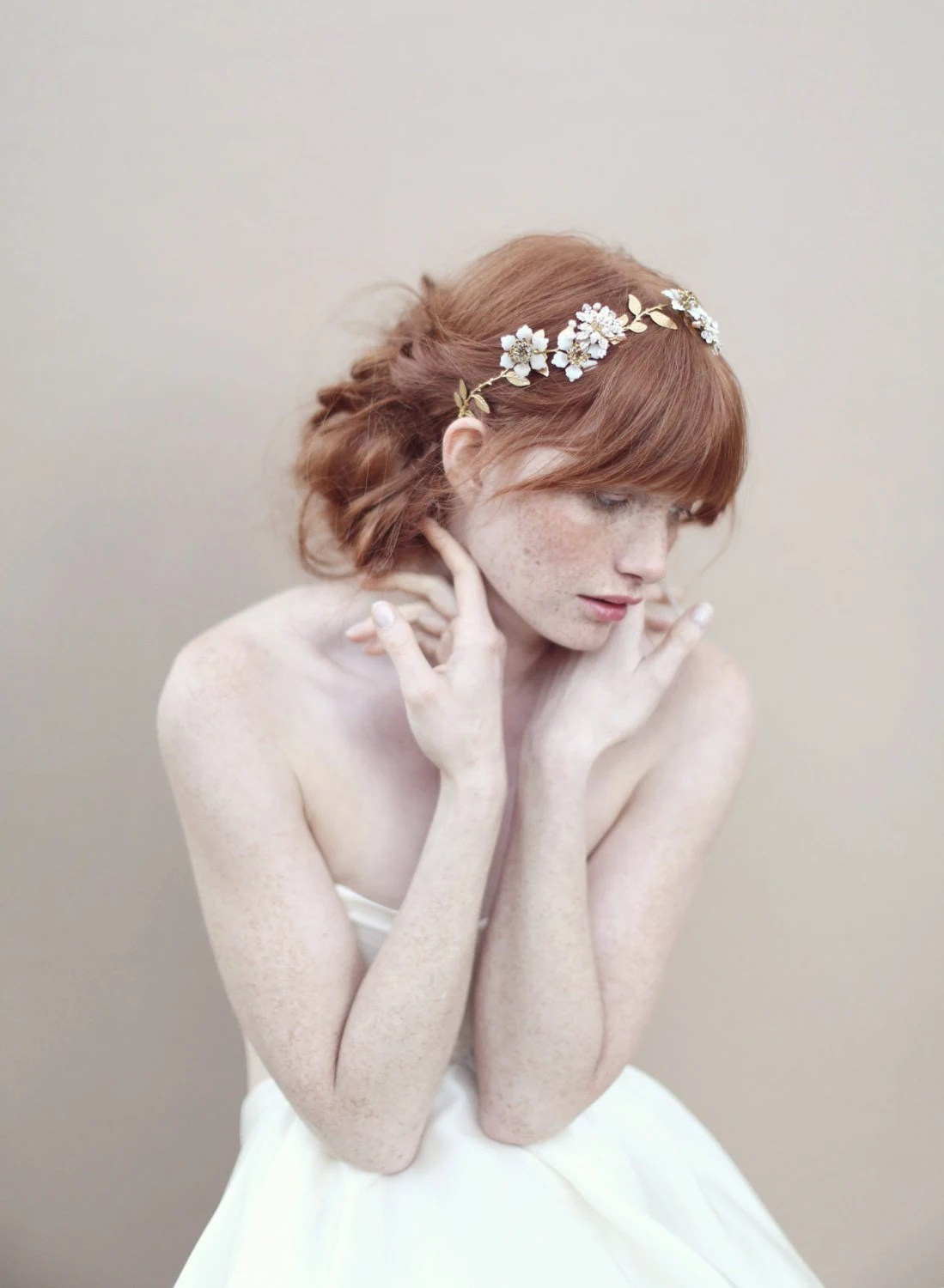 Bridal hair vine, beaded flowers, headpiece - Pearl and crystal blossom twig headpiece - Style 354
