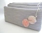 Weddings Bridal Accessories Clutches Bridesmaids Gift Set of 4 Cosmetic bags Pastel Pink Flowers - DecoZoneStudio
