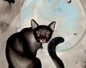 black cat and moon watercolor painting - resonanteyes