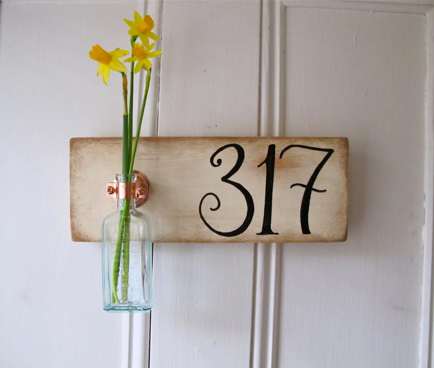 CUSTOM ORDER, House Number, Wall Flower Vase, Outdoor Decor, Signage, Wedding Date, New Home, Antique Bottle, Copper Hanger, Housewarming