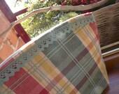 ZIPPER POUCH - Checked and cream cotton fabric - ManduLis