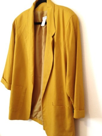 Vintage French Mustard Yellow Ladies Jacket, L / XL