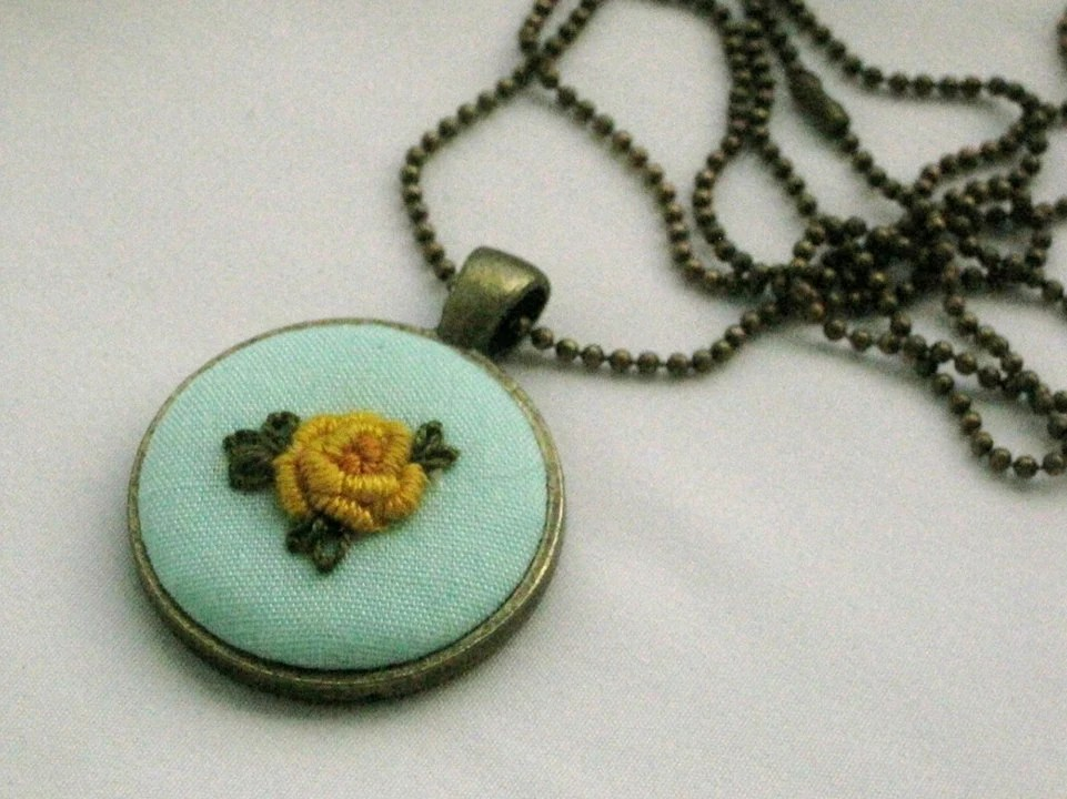 Yellow Rose Embroidered Pendant - SheriPrayHandmade
