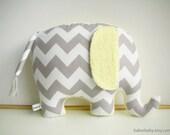 Elephant Pillow, Modern Nursery Decor, chevron elephant, gray and yellow - bakerbaby