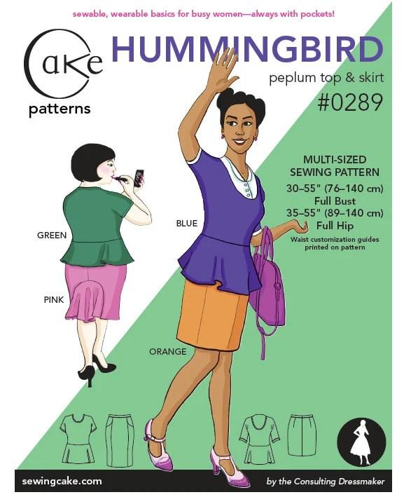 Hummingbird Peplum Top & Straight Skirt Cake Patterns