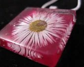 Fall, Winter and Christmas . Womans, teenager, girl  ... Ruby red  wild pressed daisy pendant/necklace.