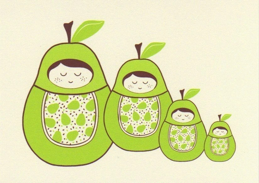 Pear Girl Nesting Doll Note Card Set of Five - bubbledog