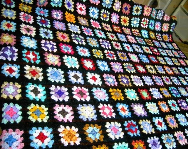 CROCHET BLANKET  Handmade crochet blanket in TRADITIONAL Granny  Style with black border  (nannycheryl original) 665