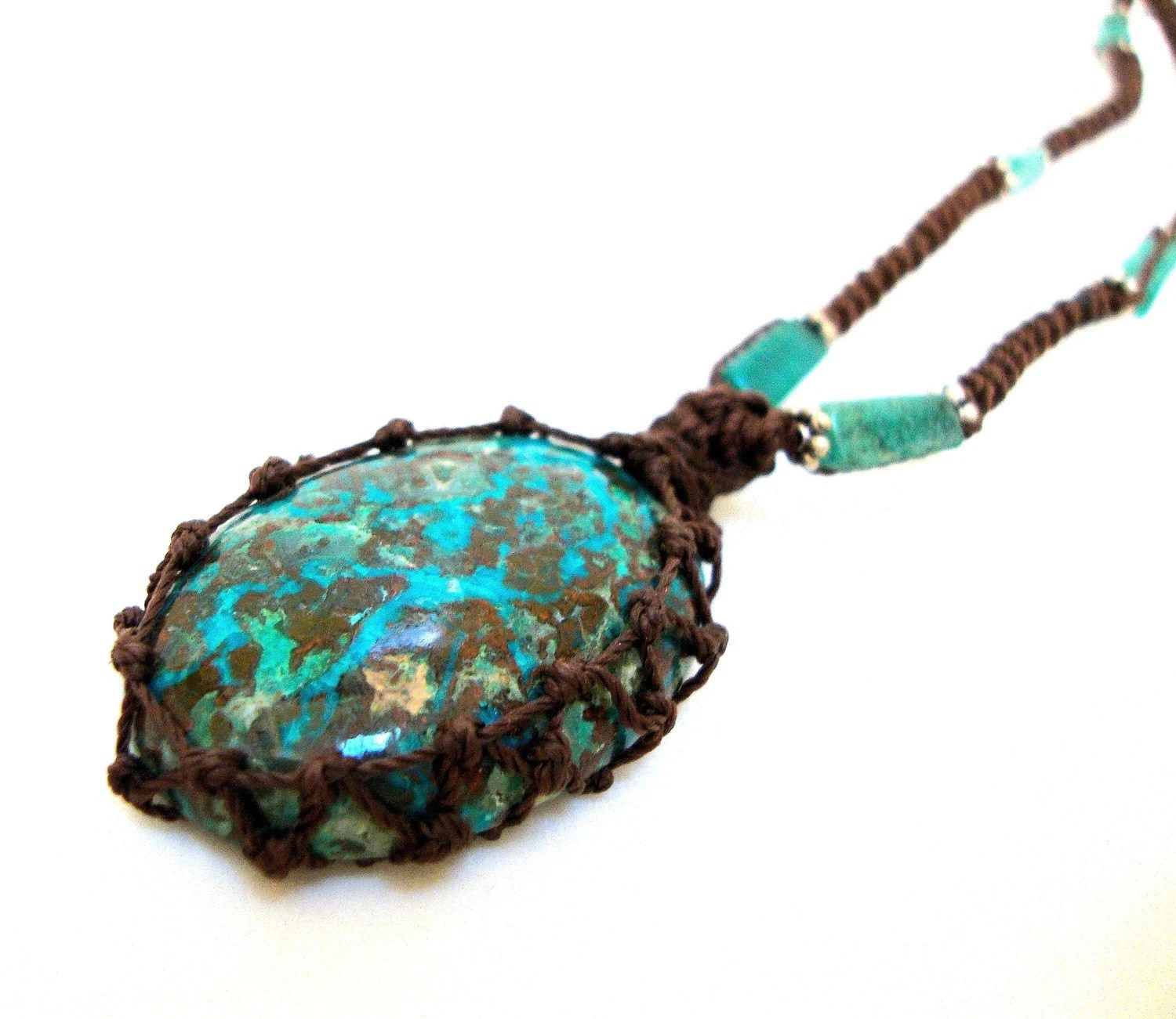 large Organic turquoise macrame Necklace- Stone of Purification- shaman ethereal square pendant healing crystal