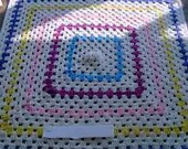 Crochet Blanket - Large Chunky Square style blanket with with pinks/blue/lavender/yellow/ivory      557