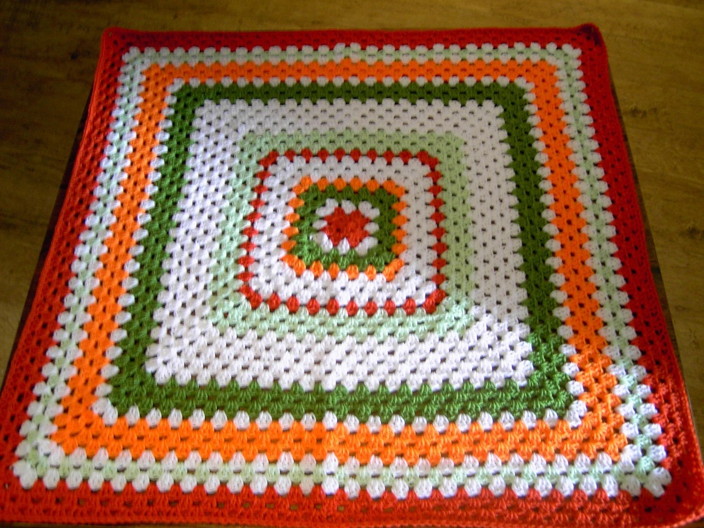 Crochet Blanket - Large Square style blanket with burnt orange/orange/sage green/spring green/white      220