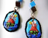 The legend of Popocatepetl miniature volcano landscape polymer clay earrings by WiLd PeArLy - WildPearly