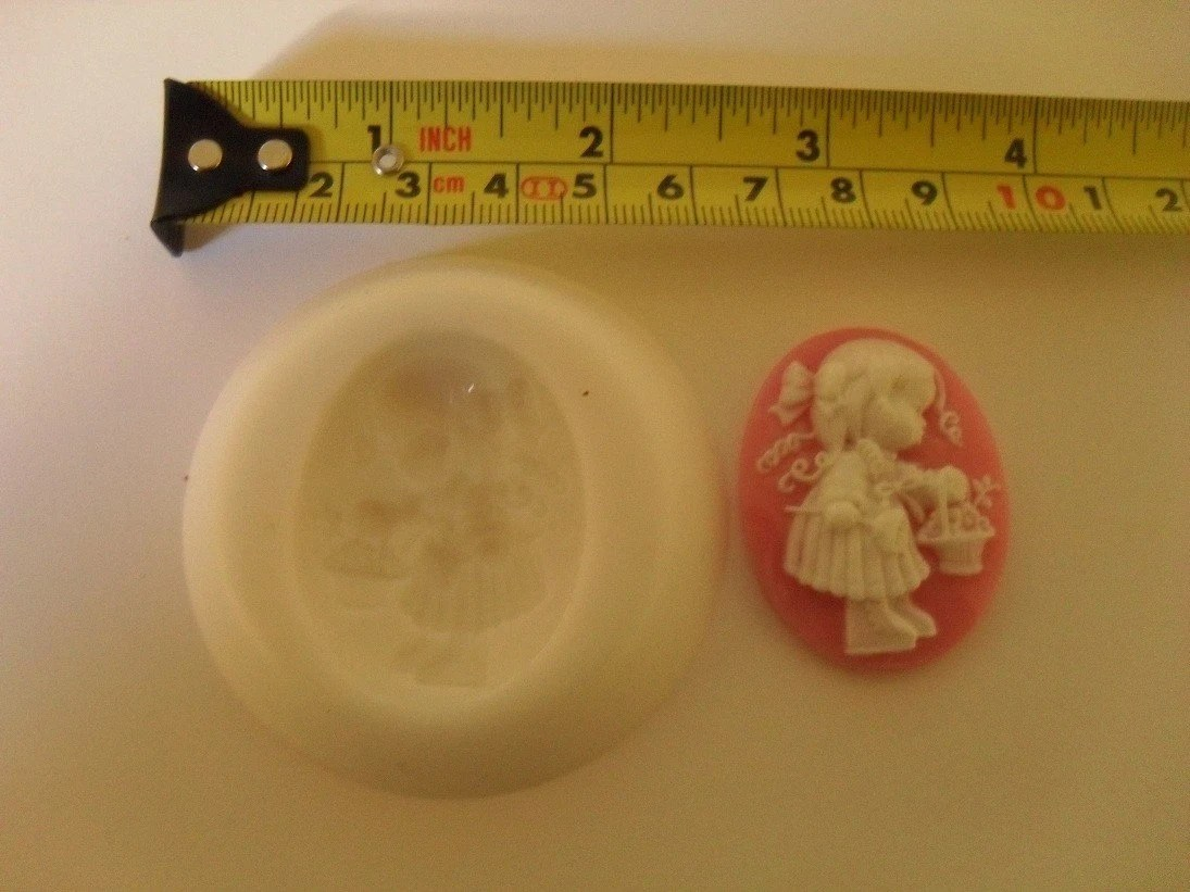 Little Girl with a Basket Cameo  Mold,for Crafts, Cake Decorating,Cupcakes,Jewelry,