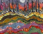 Moonlight Over Spring - limited edition very large, giclee print of original batik - amityfarmbatik