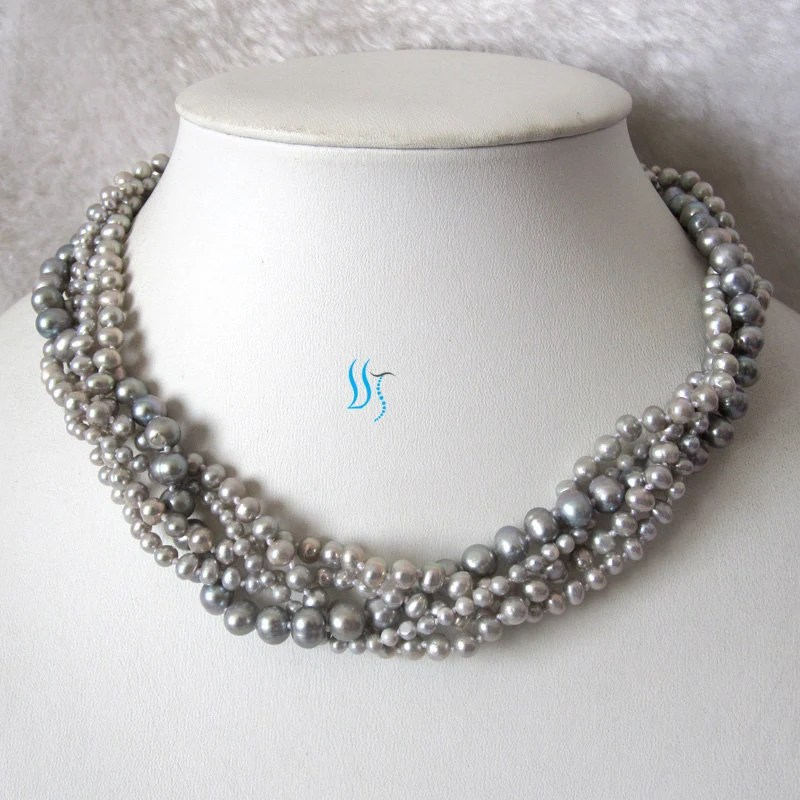Gray Pearl Necklace - 18 inches 5 Row 3-7mm Gray Freshwater Pearl Necklace - Free shipping