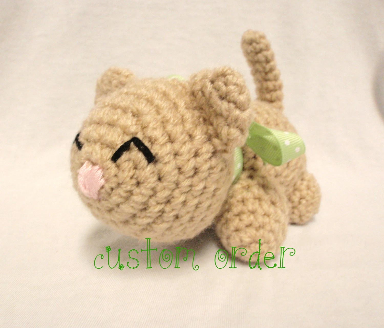 Amigurumi Crochet Kitty, Crochet Cat, Custom Order Just for You