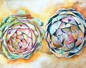 Art Print of Original Watercolor Painting--Artichokes--Food Kitchen Decor