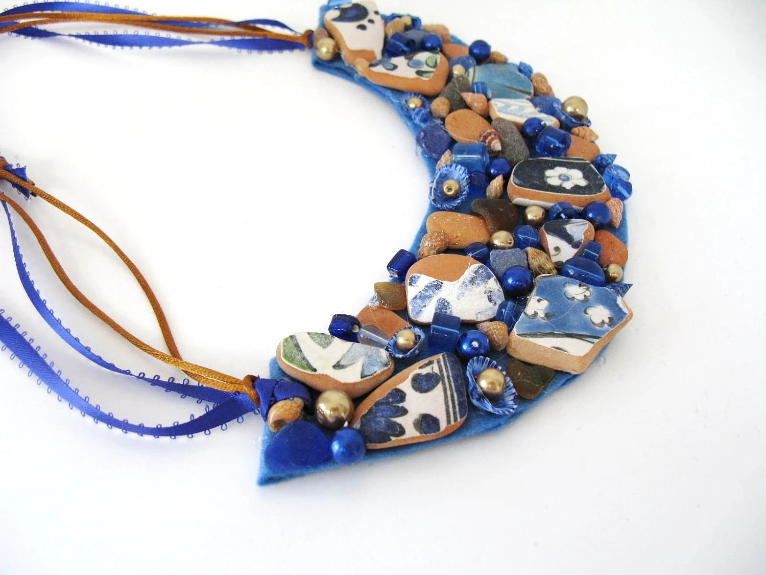 Blue and Brown Seaglass Necklace bib beach pottery - ginalimosaics