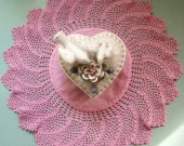 Vintage Doiley - Shabby Chic -Hand Crochet -  Rose Pink  -  Dresser