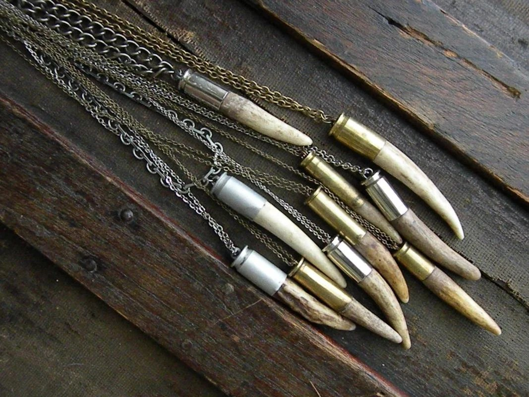 Antler tip bullet shell necklace chain rustic upcycled recycled punk vintage salvaged silver brass men women fathers day deer - decomp