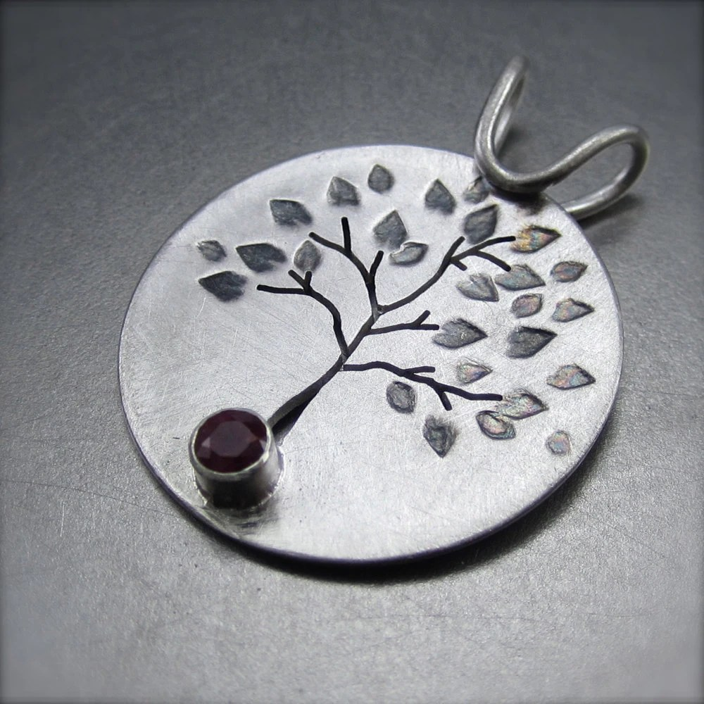 Leafy Silver Tree Pendant with Ruby