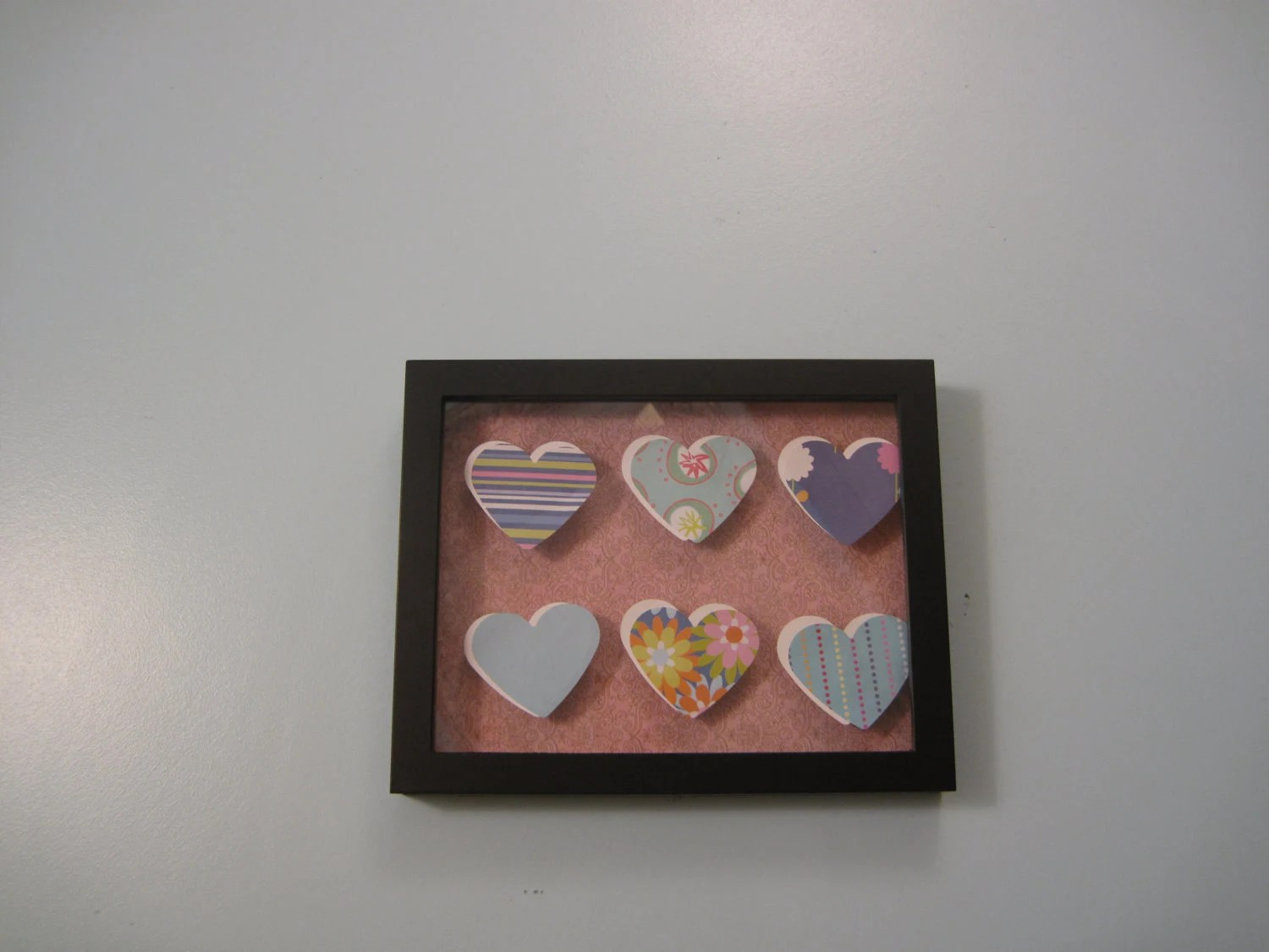 Blue and Pink Hearts Shadowbox
