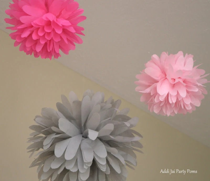 Pink is Chic     pink and gray pom pom set of 3