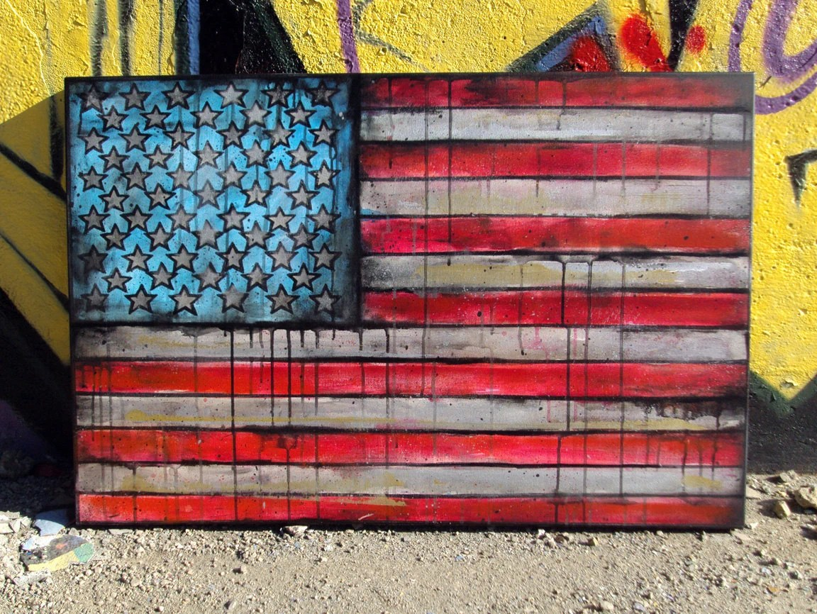 RESERVED American Flag No. 6 Large Mixed Media Pop Art Painting on Canvas 24 x 36