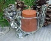 Woodland Glass Chipmunk Candle Holder - Vintage Avon