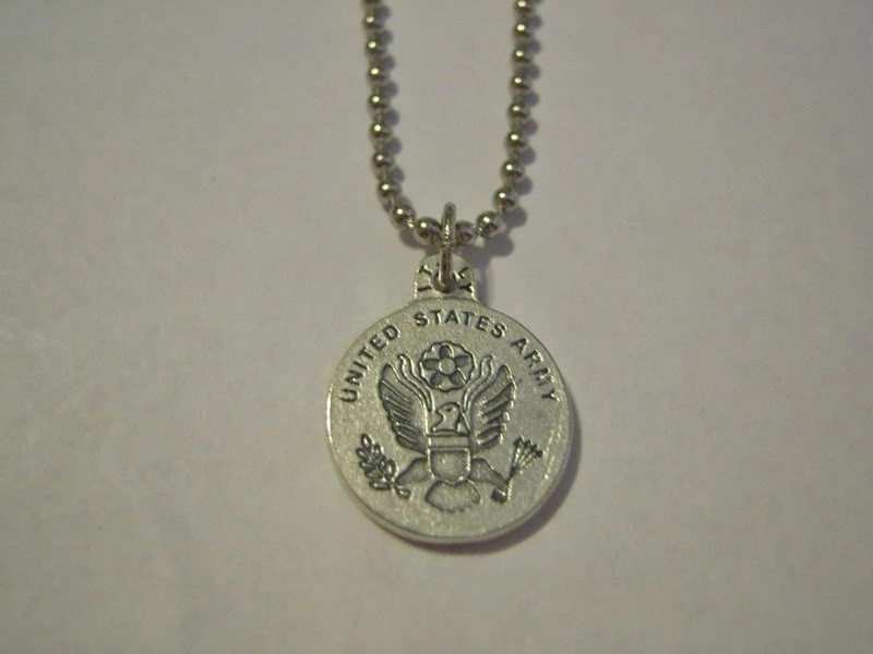 United States Army and Saint Christopher on Stainless Steel Ball Chain Necklace