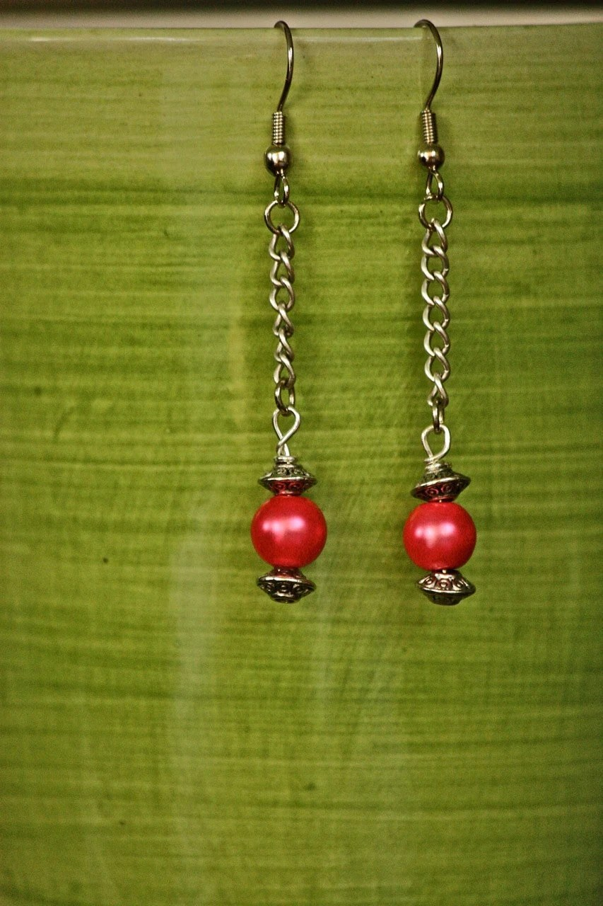 Pink Drop Earrings with Satin Beads and Chain