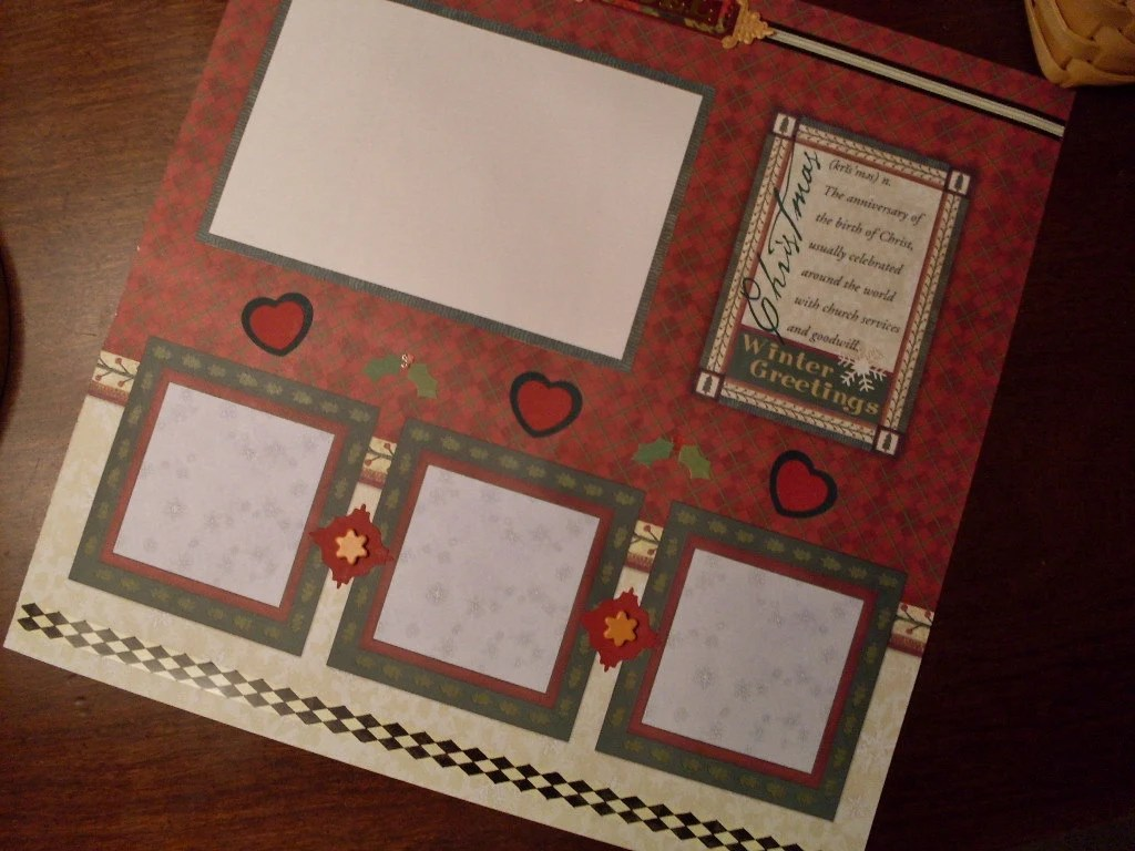 Premade Christmas 12 x 12 Scrapbook Page Layout - SALE