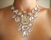 Statement Rhinestone Drag Fashion Jewelry, Sophisticated Spring Wedding Bridal Floating Gem Necklace