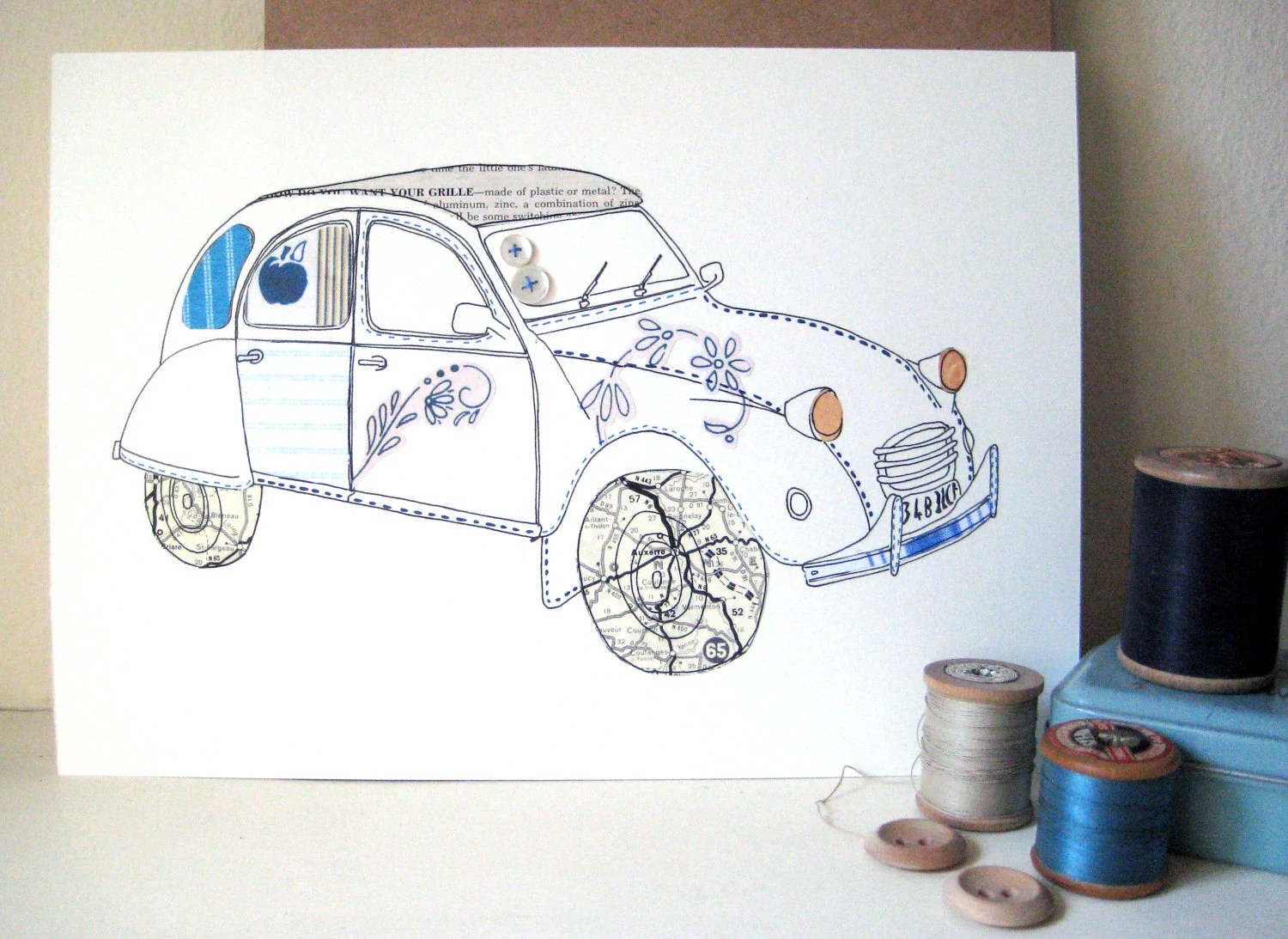 Citroen 2CV Original Illustration - Ink & collage