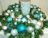 Silver Blue Christmas Centerpiece with Silver Glitter Candle