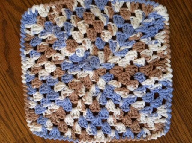 Wash Cloth - Dish Cloth - Handmade - white blue brown