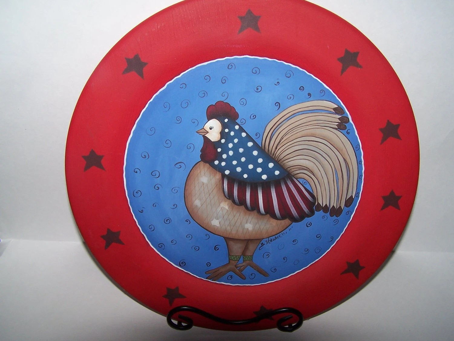 Hand Painted Wooden Rooster Plate-Home Decor-OOAK-OFG