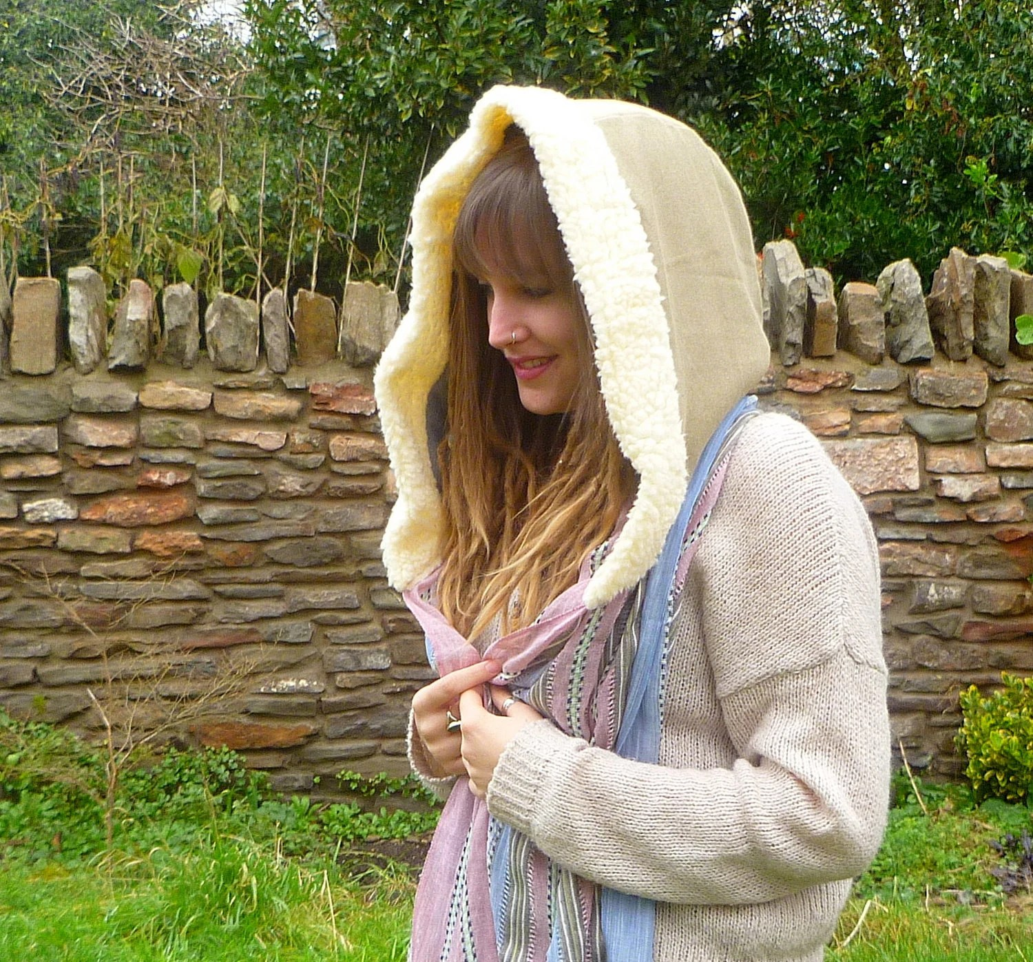 Hooded Scarf, Pixie Snood, Stripy Scarf, fluffy hood