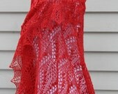 Knitted Lace Shawl, Estonian Lace with Nupps, Red