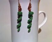 Earrings Green Jade Spiral Fused Glass Dichroic Murano Copper Metalwork Gifts For Her