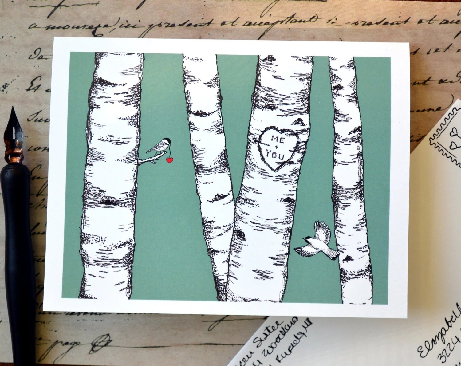 Birch Tree Carved Heart Card , Birds , Wedding Gift , Personalized - HelloSprout