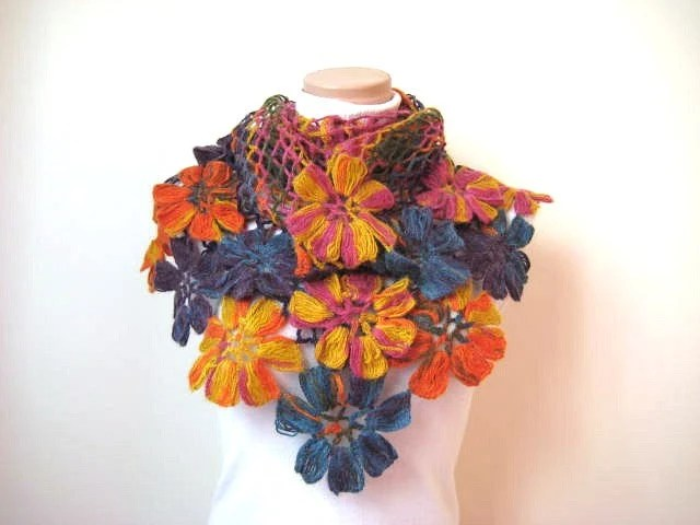 Colorful Flower Shawl - Orange Blue Yellow Purple and Pink Floral - Gift for Her