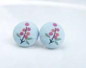 Buttons Earrings, Fabric Buttons Earrings, Fabric Covered Button, Handmade Mini Stud Earrings, Flower Earrings, Pink Blue color