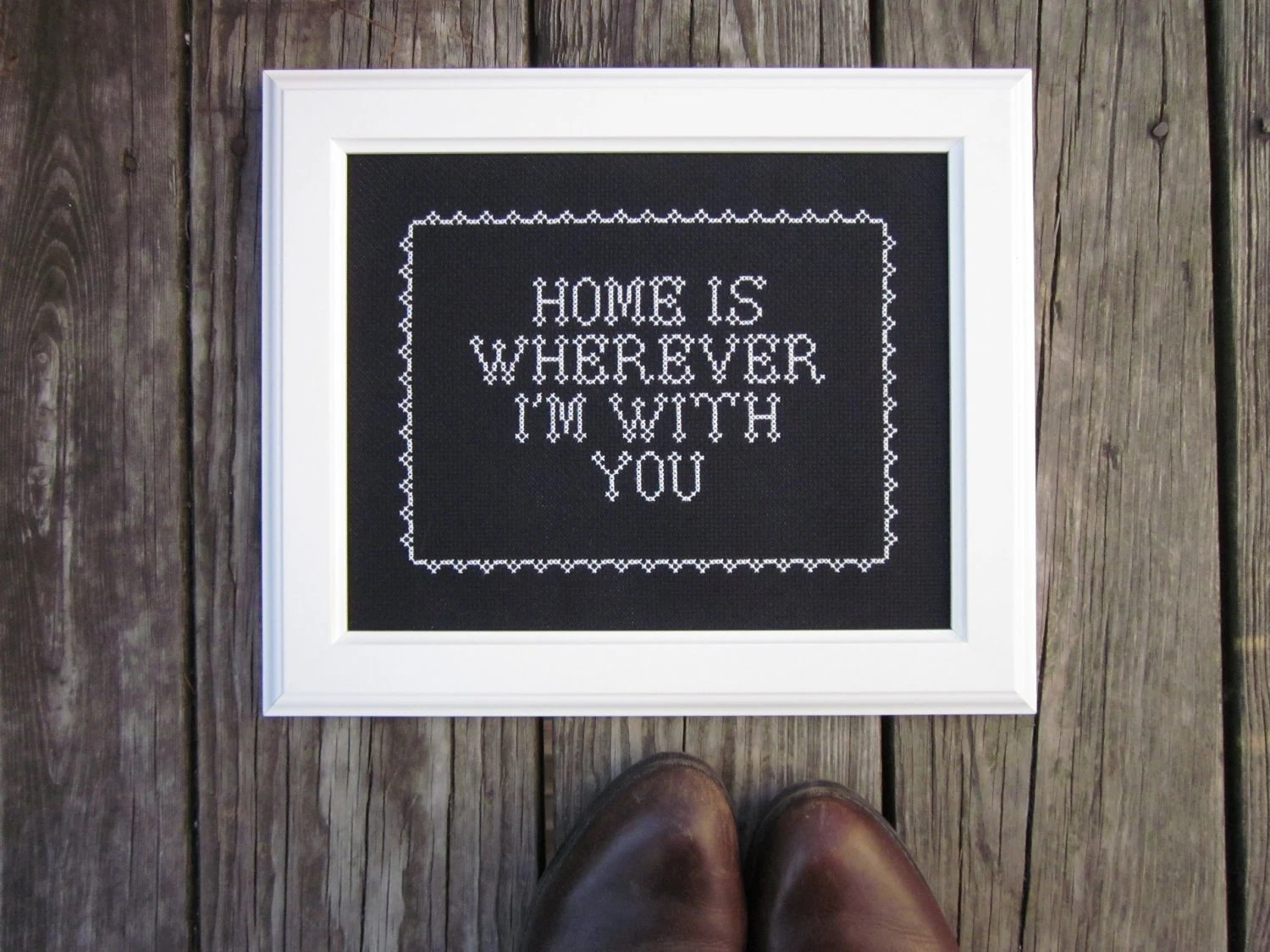 home is... framed x-stitch art NEW 8X10 size - ChezSucreChez